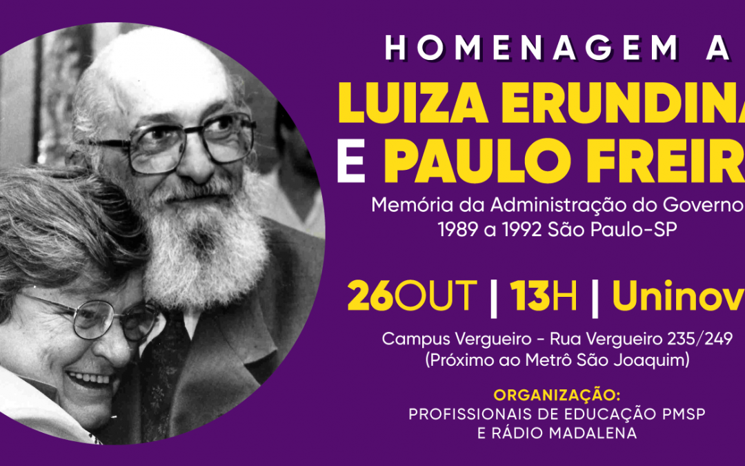 Educadores municipais prestam homenagem a Luiza Erundina e Paulo Freire